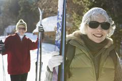 Portrait of Couple with Skis Stock Photos