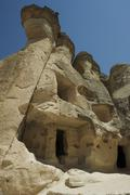 Dwelling in Rock Formation, Cappadocia, Turkey - stock photo