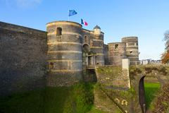 Entrance gate of Angers castle, France Stock Photos