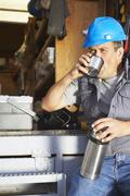Construction Worker Taking Coffee Break Stock Photos