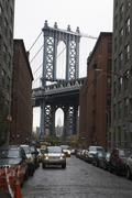 Manhattan Bridge and Street, DUMBO, New York City, New York, USA Stock Photos