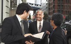 Business People on Sidewalk, New York City, New York, USA Stock Photos