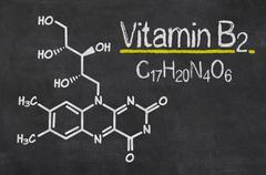 blackboard with the chemical formula of vitamin b2 - stock illustration
