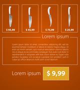 Flat minimalist vector template business design. Kitchen knives. Stock Illustration
