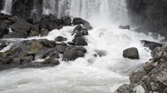 Waterfall pano right - öxararfoss iceland Stock Footage