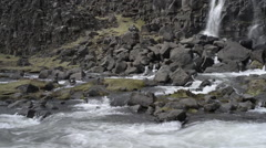 waterfall pano left - öxararfoss iceland - stock footage