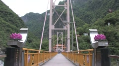 Pudu Bridge in Taroko National Park Stock Footage