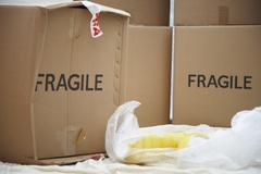 Broken Vase and Moving Box - stock photo
