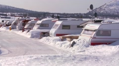 Campers are buried in a trailer park in deep snow. Stock Footage
