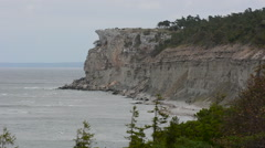 Stock Video Footage of Eroded limestone coastline on the island of Gotland in Sweden