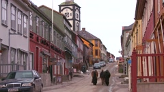 The old historic mining town of Roros in Norway. Stock Footage