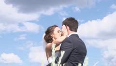 Elated Bride Kisses Groom Stock Footage