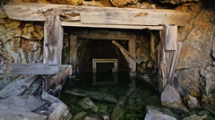 Abandoned Gold Mine Entrance Underwater in Colorado Stock Footage