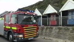British Fire Engine 999 Call Going To An Emergency Stock Footage