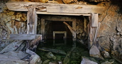 Abandoned Gold Mine Entrance Underwater in Colorado 4K 4096x2160 Stock Footage