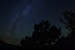 4K. Starry sky over the reservoir in Kremenchuk. Mountain Piviha.  Stock Footage