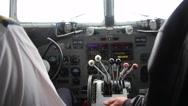 Stock Video Footage of Cockpit of a DC-3 Dakota during flight