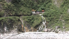 Eternal Spring Temple in Taroko National Park Stock Footage