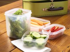 Cut Vegetables in Plastic Containers Stock Photos
