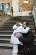 Father Dropping Daughter Off at School, Paris, France Stock Photos
