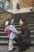 Mother Dropping Daughter Off at School, Paris, France Stock Photos