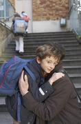 Father Dropping Son Off at School, Paris, France Stock Photos