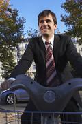 Man Renting Bicycle, Paris, France - stock photo