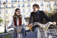 People Renting Bicycles, Paris, France - stock photo