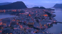 High angle view at dusk over town of Alesund, Norway. Stock Footage