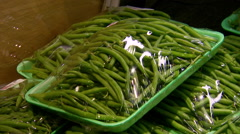 Customer Selects Packaged Green Beans for Sale Stock Footage