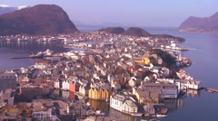 Establishing shot from a high angle view over the town of Alesund, Norway. Stock Footage