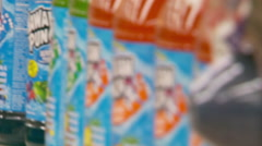 Zoom out of Sugary Drinks in Supermarket Stock Footage