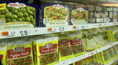 Frozen Vegetables in Grocery Store Stock Footage