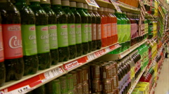 Wide Shot of Sugary Drinks in Supermarket Stock Footage