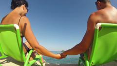4k happy romantic couple in bikini enjoying beautiful hoeymoon at the beach Stock Footage