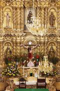 Altar of Church of San Fransisco, Acatepec, Cholula, Mexico Stock Photos