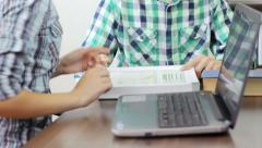 Students studying together at the university study room Stock Footage
