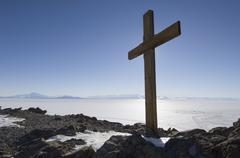 Cross on Observation Hill, Ross Island, Antarctica Stock Photos