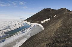 Ross Sea and Ross Island, McMurdo Sound, Antarctica - stock photo