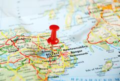 belfast  ireland  ,united kingdom  map - stock photo