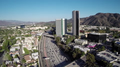 Aerial Shot of Burbank and 134 Freeway Stock Footage