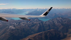 QUEENSTOWN LAKE MOUNTAINS AERIAL NEW ZEALAND Stock Footage