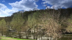Movement of clouds over the river Mountain Tikich. Buki village, Ukraine Stock Footage