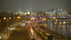 Cityscape, Russia, Moscow. Kremlin, river and embankment winter night view. Stock Footage