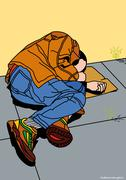 Illustration of Homeless Person - stock illustration