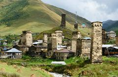 chazhashi village with fortified medieval towers,svaneti,georgia - stock photo