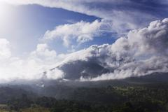 Overview of Forest and Arenal Volcano, Costa Rica - stock photo