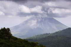 Arenal Volcano From Santa Elena Cloud Forest Reserve, Arenal Volcano National Stock Photos