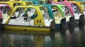 Empty Colorful Tourist Paddle Boats - Rainy Day On Lake HD HD Footage