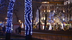 Christmas, New year time in city streets, decorated and illuminated. Stock Footage